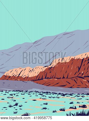 Wpa Poster Art Of Red Rock Canyon In Red Rock Canyon National Conservation Area Located In Clark Cou