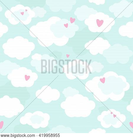 Cute Seamless Pattern With Clouds, Hearts In Pastel Colors. Great For Baby Fabric, Textile, Wallpape