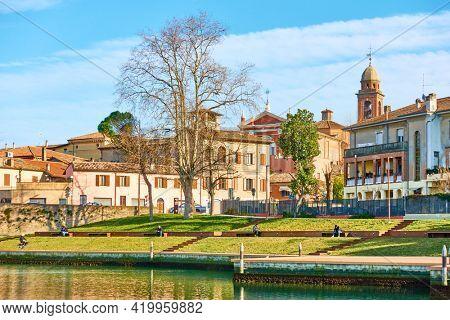 Rimini, Italy - February 25, 2020: Public garden in Rimini in the spring