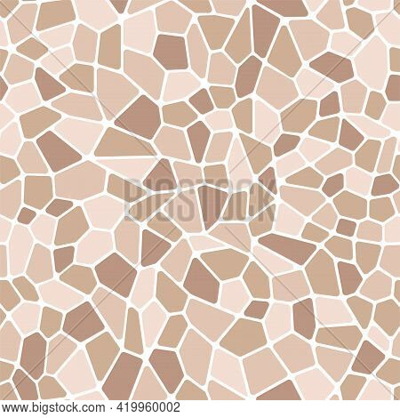 Vector Background Mosaic. Monochrome Stained Glass. Chaotic Brown Shards. Seamless Pattern.