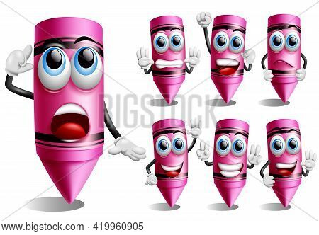 Crayon Vector Character Set. Crayons 3d Characters In Friendly Face With Thinking, Standing And Wavi