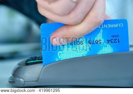 Pay Money Blue Credit Card For Spending Money With Payment Terminal. Transaction Pay And Shopping Co
