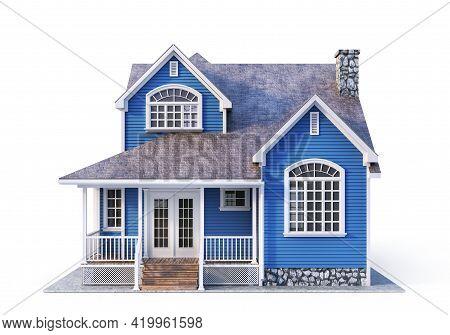 House On A White Background. 3d Illustration
