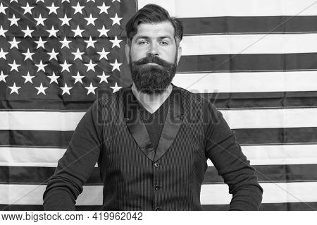 Confident Mature Man At American Flag. Bearded Man Study English. Fourth Of July. Independence Day.
