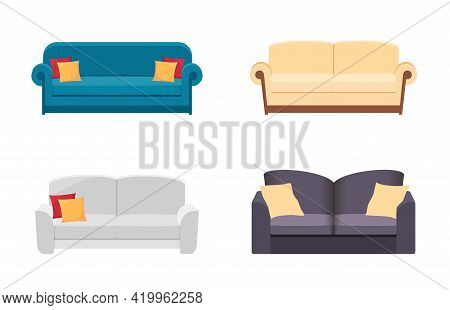 Set Different Sofas For Interior Of House. White, Blue And Beige Sofa.