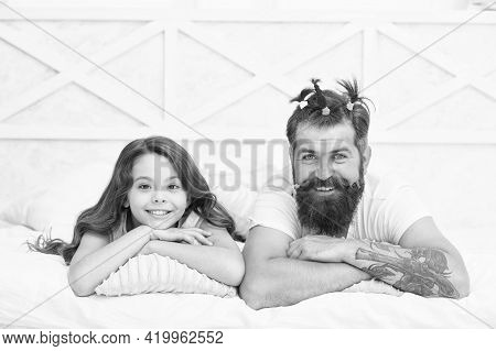 Feeling Playful. Happy Family Of Teen Girl And Dad. Funny Dad Having Cool Hairdo Made By Child. Chil