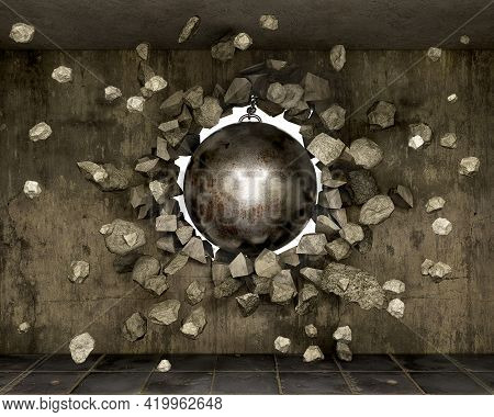 Destroyed Old Concrete Wall With Wrecking Ball And The Pieces Flight, 3d Illustration