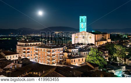 Aerial View Of San Domenico Convent In Perugia, Italy At Sunset