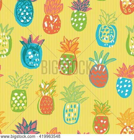 Hand-drawn Inky Pineapple Multicolored Summer Background Seamless Vector Pattern. Modern Abstract Tr