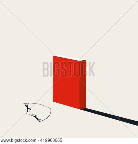 Business Overcome Challenge, Obstacle Vector Concept. Symbol Of Solution, Succes. Minimal Illustrati