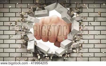 A Fist Smashes Through The White Silicate Brickwall, 3d Illustration