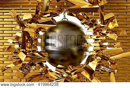 Concept Of Wrecking Ball Destroying The Wall Of Gold Bars, 3d Illustration