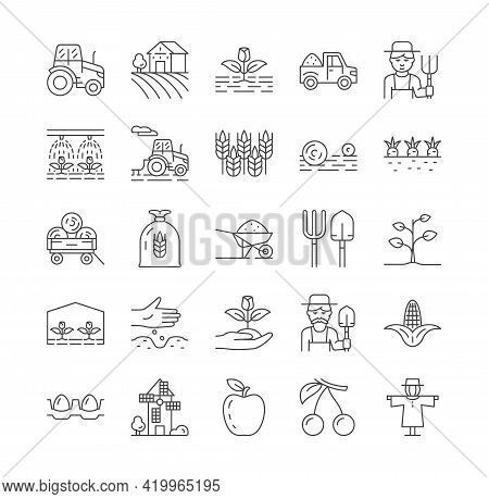 Set Of Farming And Agriculture Line Icons. Contains Harvester Trucks, Tractors, Farmers, Village, Fa