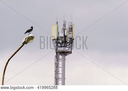 Telecommunication, Cellular Tower And Antenna. Radio Tower With 4g, 5g. Selective Focus