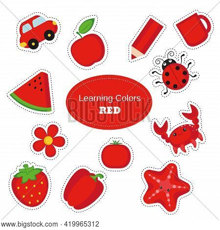 Red Objects. Learning Colors. Color Worksheet. Education Set. Illustration Of Primary Colors.