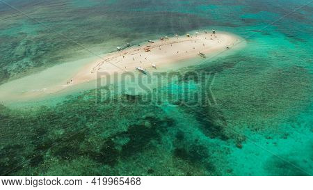 Sandy White Island With Beach And Sandy Bar In The Turquoise Atoll Water, Aerial Drone.tropical Isla