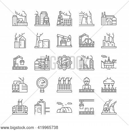 Factories, Industrial Production And Heavy Industry Line Icons. Icons As Chemical Industry, Power St