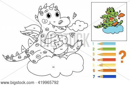 Coloring Book For Kids. Math For Children. Addition And Subtraction Mathematical Exercises. Solve Ex