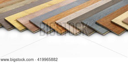 Different Variations Of Laminate Wooden Planks On White Background, 3d Illustration