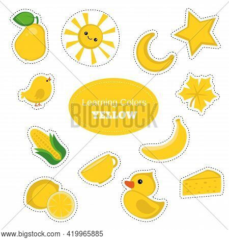 Yellow Objects. Learning Colors. Color Worksheet. Education Set. Illustration Of Primary Colors.