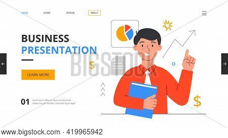 Design Template With Young Male Business Character Manager Or Bookkeeper. Annual Report, Financial A