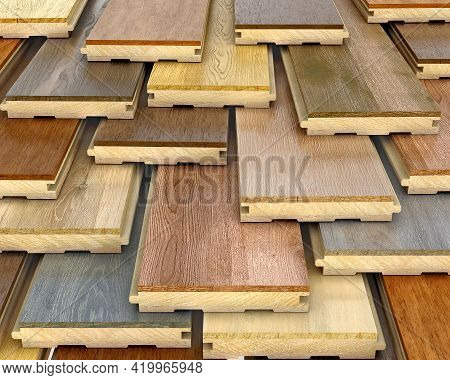 Parquet Planks Samples Stacked One On Another, 3d Illustration
