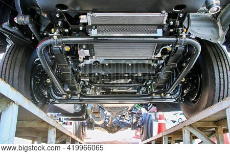 Bottom View Of A Large 4-wheel Pickup Truck.