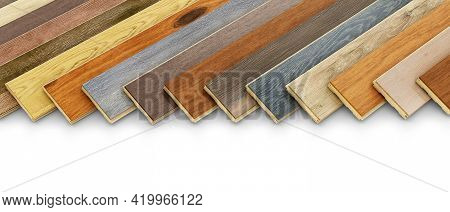 Different Variations Of Parquet Planks On White Background, 3d Illustration