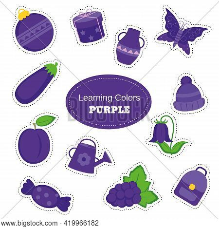 Purple Objects. Learning Colors. Color Worksheet. Education Set. Illustration Of Primary Colors.