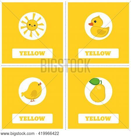 Cards For Learning Colors. Yellow Color. Education Set. Illustration Of Primary Colors.