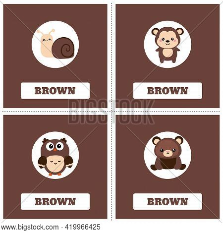 Cards For Learning Colors. Brown Color. Education Set. Illustration Of Primary Colors.