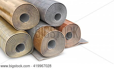 Rolled Up Linoleum Stacked In Different Variations On White Background, 3d Illustration