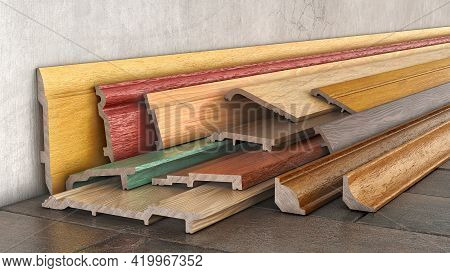A Lot Of Baseboards In Different Colors And Variations Stacked Up Near The Wall, 3d Illustration