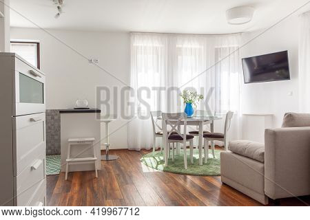 New Modern Living Room. New Home. Interior Photography. Wooden Floor.