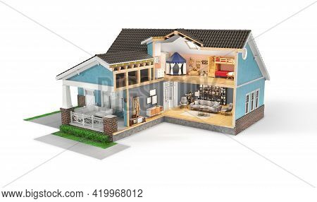 Sliced  House With Furniture On A White Background. 3d Illustration