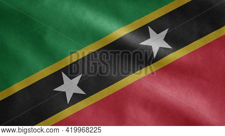 Saint Kitts And Nevis Flag Waving In The Wind. Kittitian And Nevisian Banner