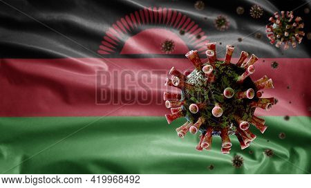 3D, Flu Coronavirus Floating Over Malawian Flag. Malawi And Pandemic Covid 19