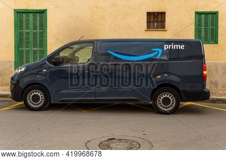 Campos, Spain; May 10 2021: Amazon Prime Delivery Van With The Company Logo Parked On A Street In Th