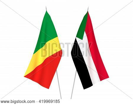 National Fabric Flags Of Sudan And Republic Of The Congo Isolated On White Background. 3d Rendering