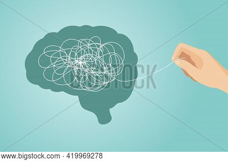 The Concept Of Psychotherapy . The Brain Is Confused. Mental Health Problems. The Hand Unravels The