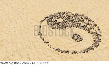 Concept conceptual stones on beach sand handmade symbol shape, golden sandy background, chinese symbol of Yin-Yang, opposing and complementary. 3d illustration metaphor for taoism, meditation, balance