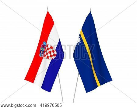 National Fabric Flags Of Croatia And Republic Of Nauru Isolated On White Background. 3d Rendering Il