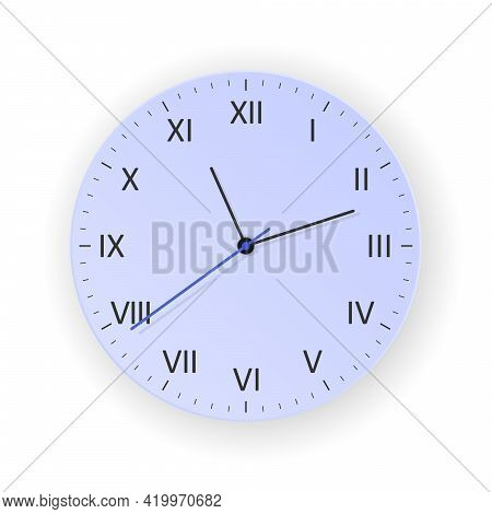 Vector Light Purple Clock Concept With Light Shadow, Show What Time Is It