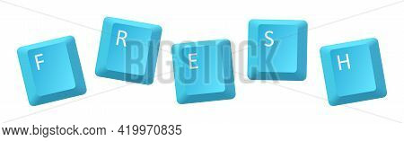 Vector Blue Fresh Key Inscription, Letter From Key Of Keyboard, Keyboard Is Very Useful Tool For Per