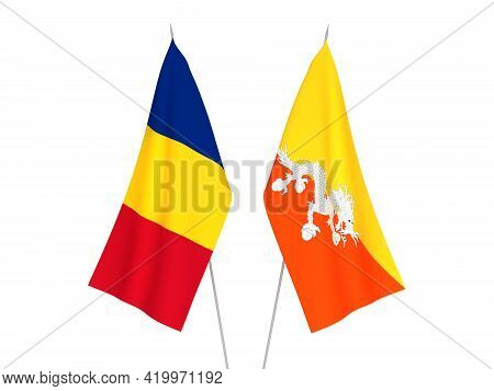 National Fabric Flags Of Romania And Kingdom Of Bhutan Isolated On White Background. 3d Rendering Il