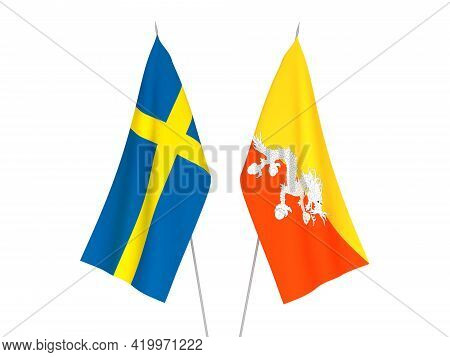 National Fabric Flags Of Sweden And Kingdom Of Bhutan Isolated On White Background. 3d Rendering Ill