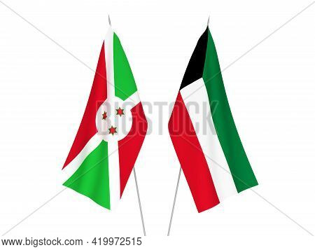 National Fabric Flags Of Kuwait And Burundi Isolated On White Background. 3d Rendering Illustration.