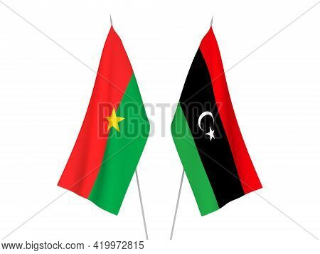 National Fabric Flags Of Libya And Burkina Faso Isolated On White Background. 3d Rendering Illustrat