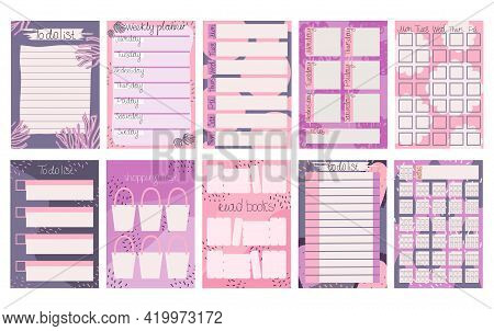 Planner Personal Affairs. Set Sheets Recording Plans And Events. Weekly Planner, For Schedule, Glass