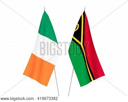 National Fabric Flags Of Ireland And Republic Of Vanuatu Isolated On White Background. 3d Rendering